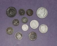 JUNK DRAWER COIN COLLECTION LOT   ALL 1800'S LARGE CENT 2 AND 3 CENT SILVER
