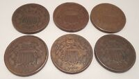 LOT OF SIX - 1864 - TWO CENT PIECE - 2 - HIGH GRADE - 1H