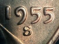 1955 S LINCOLN WHEAT CENT WITH CUD   RCD 1C 1955S 08 AND RPM 004   UNC