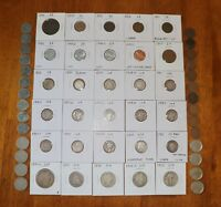 JUNK DRAWER COIN COLLECTION LOT   1899 HALF DOLLAR SILVER 1/2 DIME 2 & 3 CENT