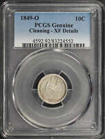 1849-O SEATED LIBERTY SILVER DIME PCGS EXTRA FINE  DETAILS CLEANING -158462