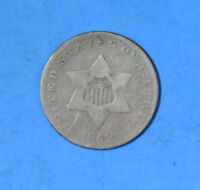 1852 US THREE CENT PIECE SILVER 3C TYPE COIN