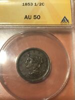 A 1853 BRAIDED HAIR HALF AU 50. ONLY 129K MINTED