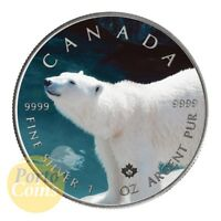 2015 CANADA $5 MAPLE 1 OZ SILVER POLAR BEAR FLAG COLORIZED A