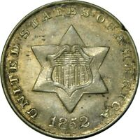 1852 3CS THREE CENT SILVER PIECE AU TRIME  OLD TYPE COIN B6