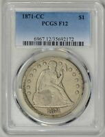 1871-CC  PCGS  F12 SEATED LIBERTY DOLLAR    ONLY 1376 MINTED    35692172