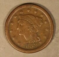 1853 BRAIDED HAIR LARGE CENT CIRCULATED                      FREE U.S SHIPPING