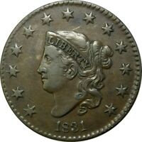 1831 1C CORONET HEAD COPPER LARGE CENT EXTRA FINE  AU  OLD TYPE COIN CS41