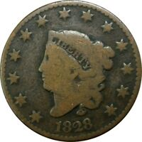 1828 1C CORONET HEAD COPPER LARGE CENT  OLD TYPE COIN CS60