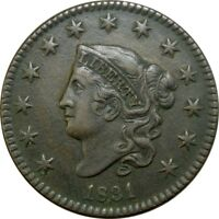 1831 1C CORONET HEAD LARGE CENT HIGH GRADE EXTRA FINE  EF  OLD TYPE COIN CS37