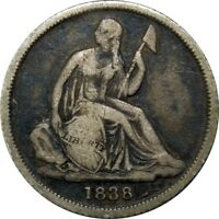 1838-O 10C SEATED LIBERTY SILVER DIME NO STARS  OLD TYPE COIN MONEY CS27