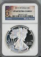 2013 W SILVER EAGLE DOLLAR PROOF NGC PF 69 ULTRA CAMEO WEST POINT LABEL