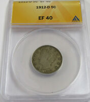 1912-D LIBERTY HEAD NICKEL ANACS EXTRA FINE  40 - BETTER DATE & CONDITION COIN