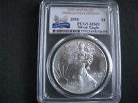 2016 AMERICAN SILVER EAGLE 1 OZ PCGS MINT STATE 69 30TH ANNIVERSARY LABLE SOME TONING