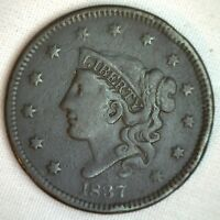 1837 CORONET LARGE CENT US COPPER TYPE COIN VF  FINE N12 VARIETY M3