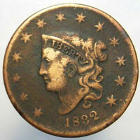 1832 1C LARGE CENT CORONET HEAD OLD US PENNY CIRCULATED COLLECTIBLE COIN