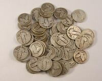 67 FULL DATE STANDING LIBERTY SILVER QUARTERS MIXED DATE LOT IN G-F CONDITION