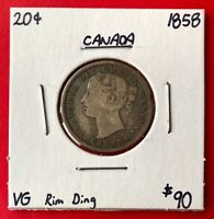 1858 20 CENTS CANADA SILVER TWENTY CENT COIN   ONE YEAR TYPE   VG RIM DING