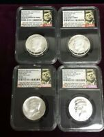 2014 SILVER KENNEDY 50TH ANN. 4 COIN SET HIGH RELIEF EARLY RELEASES NGC SP/PF 69
