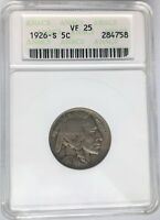 1926-S 5C BUFFALO NICKEL ANACS VF-25