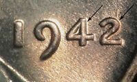 1942 LINCOLN WHEAT CENT DOUBLED DIE DDO 005   HIGH GRADE  DIE