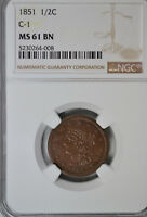 1851 BRAIDED HAIR HALF CENT, NGC MINT STATE 61 BN