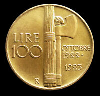 1923 R GOLD ITALY 32.25 GRAM 100 LIRE FASCIST GOVERNMENT ROM