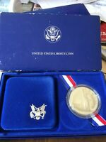 1986 SILVER PROOF STATUE OF LIBERTY SILVER DOLLAR AWESOME TONING W BOX & COA