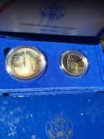 1986 SILVER PROOF STATUE OF LIBERTY COMMEMORATIVE 2 COIN SET TONING