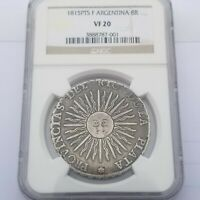1815 PTS F ARGENTINA 8 REALES 8R NGC VF20 SILVER CROWN
