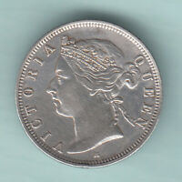 HONG KONG 1890 EXTREMELY  SILVER 20 CENTS COIN VICTORIA QUEE