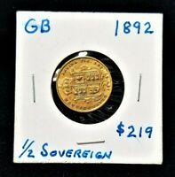 1892 GREAT BRITAIN 1/2 SOVEREIGN GOLD COIN ALMOST UNCIRCULAT