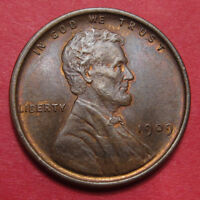 1909 VDB LINCOLN WHEAT CENT   UNC WITH FULL CARTWHEEL LUSTER AND SHARP STRIKE