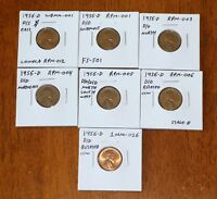1956 D/D D/D/D/D D/S LINCOLN WHEAT CENT RPM ERROR LOT   NICE COINS W/ FS 501