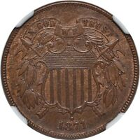 1871 TWO CENT PIECE - NGC MINT STATE 63BN - TOUGHER DATE