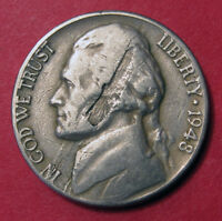1948 JEFFERSON NICKEL MINT ERROR LAMINATION PEEL   DOUBLED SIDED