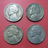1940'S JEFFERSON NICKEL MINT ERROR   CLIPPED PLANCHET 1942 1944 P 1945 P 1948