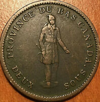 1837 LOWER CANADA ONE PENNY BANK TOKEN DEUX SOUS   QUEBEC BA