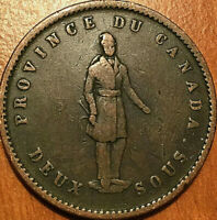 1852 LOWER CANADA QUEBEC BANK ONE PENNY TOKEN DEUX SOUS   NI