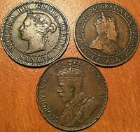1882H 1910 1912 CANADA LARGE CENT 1 CENT LOT OF 3 COINS VICK