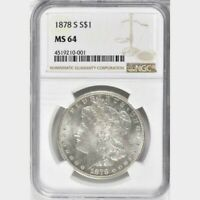 1878 S MORGAN SILVER DOLLAR NGC MS 64