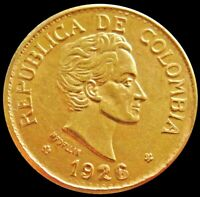 1926 GOLD COLOMBIA 5 PESOS 7.9881 GRAMS COIN MEDELLIN MINT H