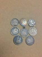 LOT OF 8 SEATED LIBERTY AND CAPPED BUST HALF DIMES  FIRST YE