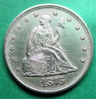 1875 20 CENT PIECE FULL LIBERTY AND HEAD. MS DETAILS. WITH L