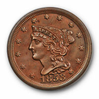 1853 1C BRAIDED HAIR HALF CENT UNCIRCULATED BROWN US TYPE COIN 3501