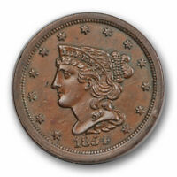 1854 1/2C BRAIDED HAIR HALF CENT UNCIRCULATED MINT STATE BROWN BN 3861