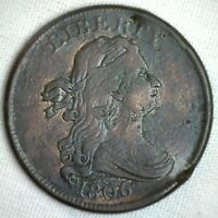 1806 1/2C DRAPED BUST HALF CENT COPPER COIN  FINE SMALL HIGH 6 VARIETY M1