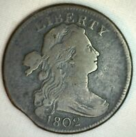 1802 DRAPED BUST COPPER LARGE CENT EARLY PENNY TYPE US COIN CLIPPED  FINE K3