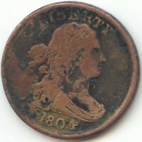 1804 DRAPED BUST HALF CENT PLAIN 4 NO STEMS VG F DETAIL TRUE