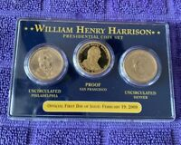 2009 FIRST DAY OF ISSUE WILLIAM HENRY HARRISON PRESIDENTIAL COIN SET P, S & D
